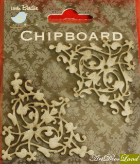 Chipboard - 2 colturi inflorate