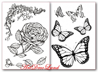 Hartie de transfer - Roses and Butterfly