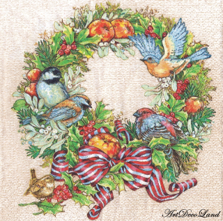 Christmas Wreath with Birds